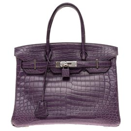 Hermès-Exceptional Hermès Birkin 30 Crocodile Niloticus Amethyst matte, palladium metal trim in excellent condition-Purple