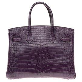 Hermès-Außergewöhnlich Hermès Birkin 30 Krokodil Niloticus Amethyst matt, Palladium Metallverkleidung in sehr gutem Zustand-Lila