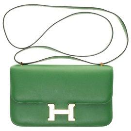 Hermès-Hermès Constance Elan en cuir epsom vert, garniture en métal plaqué or, en très bon état !-Vert