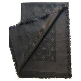 Louis Vuitton-LOUIS VOUITTON STYLE MONOGRAM SHAWL STOLA NEW-Dark grey