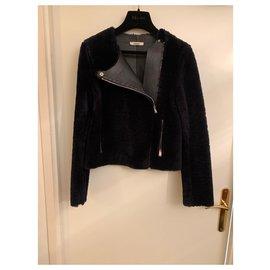 Céline-Veste en cuir peau lainé bleu nuit et noir-Noir,Bleu Marine
