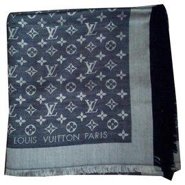 Louis Vuitton-Blue Monogram Denim Shawl-Blue