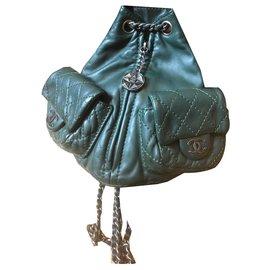 Chanel-Backpacks-Dark green