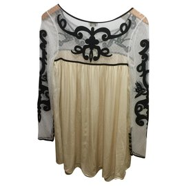 Temperley London-silk and lace dress-Black,White,Cream