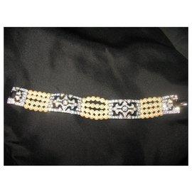 Autre Marque-Bracelet Chartage avec cristaux Swarovski et perles-Argenté