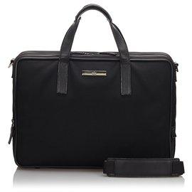 Gucci-Sac d'affaires en nylon noir Gucci-Noir