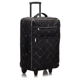 Chanel-Chanel Black Old Travel Line Trolley-Black,White