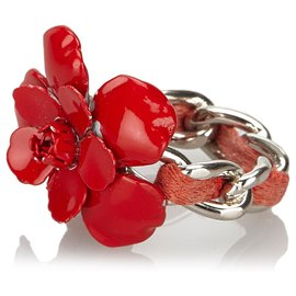 Chanel-Chanel Red Camellia Ring-Silvery,Red