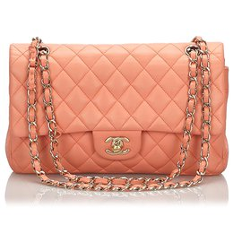 Chanel-Chanel Orange Classic Medium Médio Aleta forrada-Laranja