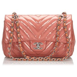 Chanel-Chanel Pink Medium Patent Leather Chevron Single Flap Ba-Pink