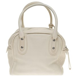 Chanel-Chanel Bowling bag in ivory calf leather partially quilted-Eggshell