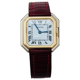 "Cartier-Cartier watch, ""Belt"", two tones of gold on leather.-Other"