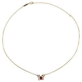 Van Cleef & Arpels-Collier Van Cleef & Arpels, papillon, or jaune rubis et diamants.-Autre