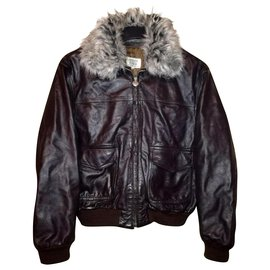 Armani-ARMANI Junior - Type G-1 Boy's Pilot Bomber Leather Jacket, Removable collar, size 42-Brown