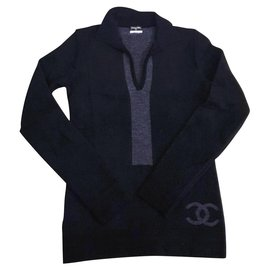 Chanel-Wool and cashmere sweater-Black,Grey