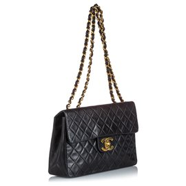 Chanel-Chanel Black Classic Maxi Lambskin Single Flap Bag-Black