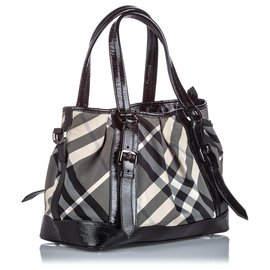 Burberry-Burberry Gray Beat Check Canvas Lowry Satchel-Black,Grey