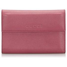 Gucci-Portefeuille Gucci en cuir rose-Rose