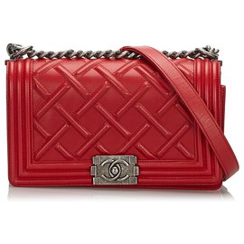 Chanel-Chanel Red Embossed Leather Medium Celtic Boy Flap Bag-Red