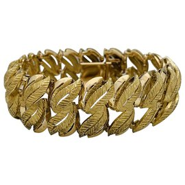 inconnue-Yellow gold bracelet, leaf patterns.-Other