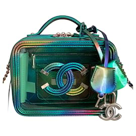 Chanel-Small Green PVC Vanity Case with Rainbow Patent Leather-Green