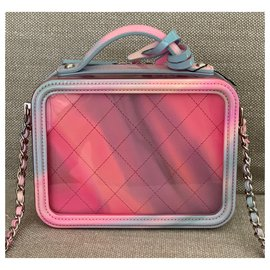 Chanel-Small Pink PVC Vanity Case with Rainbow Patent Leather-Pink