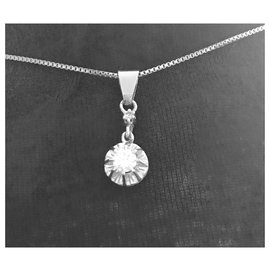 Autre Marque-Vintage beautiful diamond pendant on gray gold and its chain-Silvery