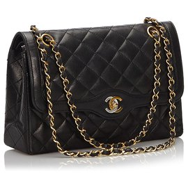 Chanel-Chanel Black Matelasse lined Flap Shoulder Bag-Black