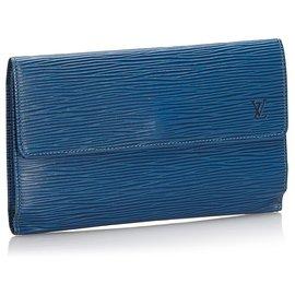 Louis Vuitton-Louis Vuitton Bleu Epi Porte Tresor International-Bleu