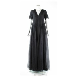Burberry-Floor length Burberry silk dress-Black