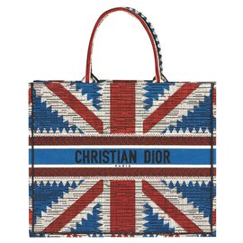 Dior-DIOR BOOK TOTE BAG UNION JACK FLAG BRAND NEW-White,Red,Blue