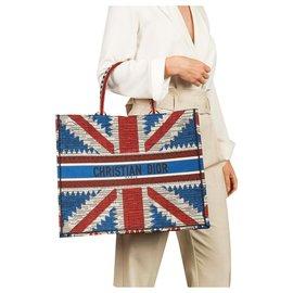 Dior-DIOR BOOK TOTE SAC UNION JACK FLAG NEUF-Blanc,Rouge,Bleu