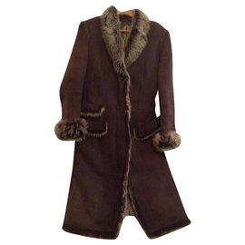 Gucci-Superbe manteau Gucci en mouton retourné-Chocolat