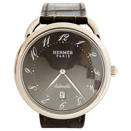 Hermès-ARCEAU AUTO 40 BLACK CROCO-Argenté,Gris anthracite