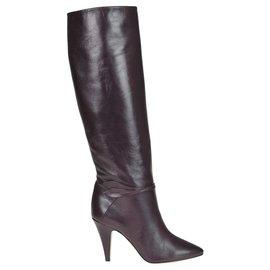 Céline-CÉLINE Under the knee leather boots-Brown