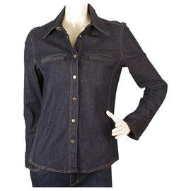Gucci-Chemise manches longues en denim bleu avec boutons-pression Gucci 44-Bleu