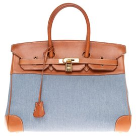 Hermès-HERMES BIRKIN 35 bi-material in blue canvas and tawny barenia leather!-Brown,Blue