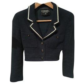Chanel-Jackets-White,Navy blue