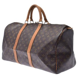 Louis Vuitton-Sac de voyage vintage Louis Vuitton-Marron
