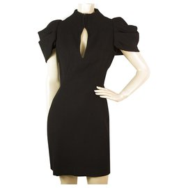 Alexander Mcqueen-Alexander McQueen Buraco da chave preto ombro plissado Mini vestido tamanho 40 , soberba-Preto