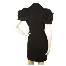Alexander Mcqueen-Alexander McQueen Black Key Hole Pleated Shoulder Mini Dress size 40 , Superb-Black