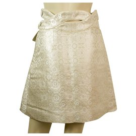 Chloé-Chloe Porcelain White Shiny Silky Jacquard Cut Details A- Line Pleat Skirt Sz 36-Eggshell