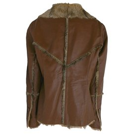 Balmain-Balmain Sheepskin Lamb Leather Jacket-Brown