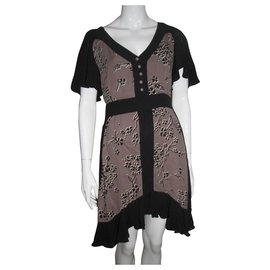 Temperley London-Silk sample dress-Black,Taupe