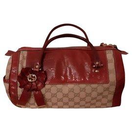 Gucci-Handbags-Beige,Dark red
