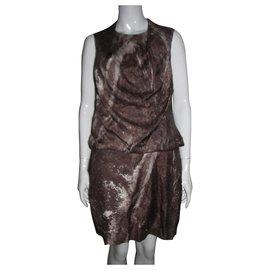 Halston Heritage-Draped silk dress-Brown,Beige,Cream