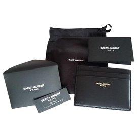 Yves Saint Laurent-LEATHER CARD HOLDER YVES SAINT LAURENT-Black