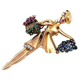 """inconnue-Broche Lacloche """"Automne"""" en or jaune, platine, rubis, émeraudes, saphirs et diamants.-Autre"""