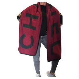 Chanel-Chanel large scarf-Dark red