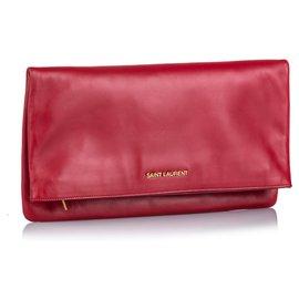 Yves Saint Laurent-Pochette repliable en cuir rouge YSL-Rouge